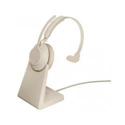 Jabra Evolve2 65, Link380a UC Mono Stand Beige [26599-889-988] - Беспроводная моно гарнитура, UC, USB-A+зарядная подставка