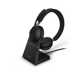 Jabra Evolve2 65, Link380a MS Stereo Stand Black [26599-999-989] - Беспроводная стерео гарнитура, MS, USB-A+зарядная подставка